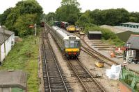 A DMU waiting to pull into the platform at Medstead and Four Marks on the Mid-Hants Railway on 27 August 2009.<br> <br><br>[Peter Todd&nbsp;27/08/2009]
