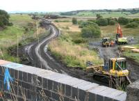 Activity on the Airdrie-Bathgate section on 28 August 2009.  Looking along the trackbed towards Blackridge from the A89 overbridge just east of Forrestfield station.<br><br>[John Furnevel&nbsp;28/08/2009]
