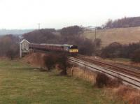58008 passing the now demolished Crigglestone Junction signal box on Pathfinder's <i>Standedge Stomper</i> on 20 February 1994. [See image 28049] for a near identical view 20 years earlier. <br><br>[David Pesterfield&nbsp;20/02/1994]