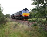 A DRS (Malcolm liveried) Class 66 (412) makes an appearance on the Boness & Kinneil Railway on 30 August during their August Diesel Weekend.<br><br>[David Forbes&nbsp;30/08/2009]