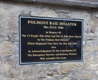 The memorial plaque at Polmont station, unveiled on 30 July 2009, the 25th anniversary of the disaster.<br><br>[David Panton&nbsp;02/09/2009]