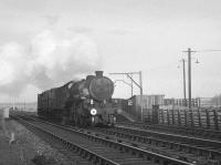 A B1 with a short freight heads south on the Waverley route on the approach to Longtown in the 1960s. <br><br>[K A Gray&nbsp;//]