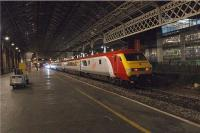 The very smart Virgin Trains Mk3 set at Platform 5, Preston, having arrived with the Friday night relief service from Euston on 4 September 2009.<br><br>[John McIntyre&nbsp;04/09/2009]