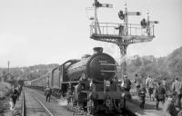 Class K1 locomotive no 62005 simmers at the platform at Richmond, Yorkshire, with train 3Z08, the SLS <I>Three Dales Railtour</I>, on 20 May 1967. The locomotive is preparing to take the train on the next leg of its journey to Westgate-in-Weardale.<br> <br><br>[Robin Barbour Collection (Courtesy Bruce McCartney)&nbsp;20/05/1967]
