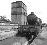 Preserved and restored ex-LNER class D49 no 246 <I>Morayshire</I> stands alongside the water tank at Boness on Friday 28th August 2009.<br> <br><br>[David Forbes&nbsp;28/08/2009]