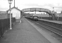 A down <I>Thames - Clyde Express</I> Saturday relief working runs into Kirkconnel station on 6 August 1966 behind a <I>Peak</I> type 4 locomotive.<br><br>[Colin Miller&nbsp;06/08/1966]