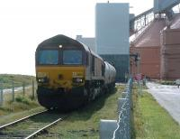 EWS 66176 preparing to leave the Alcan bauxite terminal at North Blyth on 2 September 2009<br> <br><br>[Colin Alexander&nbsp;02/09/2009]