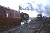 Another Beattock banker gets to grips with another northbound passenger train as it sets off from alongside Beattock North signal box in the 1960s.<br><br>[Robin Barbour collection (Courtesy Bruce McCartney)&nbsp;//]