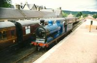 Caledonian Railway no 828 running round at Boat of Garten on 18 August 1993.<br><br>[Ken Browne&nbsp;18/08/1993]