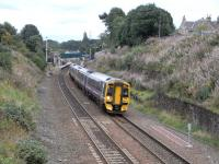 A 4-car 158 pulls away from Polmont with the daily Edinburgh to Alloa service on 2 September 2009<br><br>[David Panton&nbsp;02/09/2009]