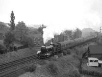 Gresley V3 no 67636 climbs south away from Durham Viaduct on its way to West Auckland with the first leg of the <I>Durham Railtour</I> on 13 October 1962. <br><br>[K A Gray&nbsp;13/10/1962]