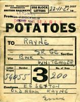 This is a freight wagon label found in the debris of then (August 1980) disused and vandalized Rayne station in Essex. It refers to a consignment of seed potatoes transported from Leysmill (for Friockheim) on the former Arbroath to Forfar line to a farmer in Rayne. Despatched on 22 November 1961, the sacks of potatoes travelled via Berwick and Whitemoor before arriving at Rayne at 10 a.m. a mere 3 days later. Rayne was closed to goods on December 7th 1964 (regular passenger traffic had ceased in 1952).<br><br>[Mark Dufton&nbsp;03/08/1980]