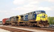 CSX AC44CW's no 395 and 154 begin switching duties at the south-western end of Maxwell Yard in Greenwood, SC on Friday, 11 September, 2009.<br><br>[Andy Carr&nbsp;11/09/2009]