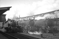 Interesting lineup of steam locomotives at the south end of Carlisle station in the mid 1960s comprising, from the left, 41222, 45697 <I>Achilles</I> and 45295.<br> <br><br>[K A Gray&nbsp;//]
