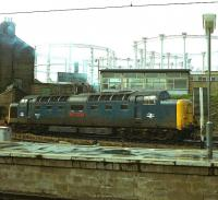 Deltic 55014 <I>The Duke of Wellington's Regiment</I> carries out a few manoeuvres between turns at the north end of Kings Cross on 24 April 1979.<br><br>[Peter Todd&nbsp;24/04/1979]