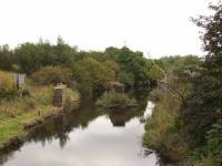This shows the supports for the recently removed rail bridge that crossed the Black Cart Water just to the West of Cart Junction, carrying the line to Bridge Of Weir, Kilmacolm and Greenock Princes Pier.  <br><br>[Graham Morgan 16/09/2009]