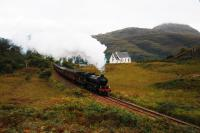 A picture I have always wanted to take.K1 62005 carrying the nameplates <I>Lord of the Isles</I> brings <I>The West Highlander</I> up the gradient past the disused <I>Our Lady of the Braes</I> Catholic Church near Lochailort.Made famous in the film <I>Local Hero</I> it may be converted to a private home.<br><br>[John Gray&nbsp;26/09/2009]