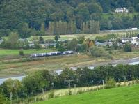 A First ScotRail class 170 runs alongside the River Tay at Kinfauns betweeen Dundee and Perth in September 2009. Pictured from The top of Elcho Castle.<br><br>[Brian Forbes&nbsp;26/09/2009]