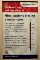 Tonight's the night! Last train to Oldham and other stations on 'The Loop', 3 October 2009.<br><br>[John McIntyre&nbsp;03/10/2009]