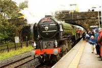 Tornado arrives at Long Preston 'filling' station on 03 October 2009 whilst on a day out to Carlisle. The crew try to position the loco at the 'pump' but the hose didn't reach the tank. The solution will appear in a later photo. <br><br>[John McIntyre&nbsp;03/10/2009]