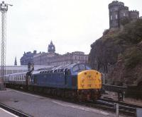 40013 takes a southbound ECML service away from the east end of Waverley in August 1981.<br><br>[Peter Todd&nbsp;31/08/1981]
