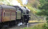 Britannia Pacific no 70013 <I>Oliver Cromwell</I>, during a visit to the NYMR on 2 October 2009, slips on the 1 in 49 climb south from Grosmont with the 12.30 service to Pickering.<br> <br><br>[Colin Miller&nbsp;02/10/2009]