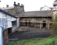 Ongoing restoration work at Burntisland on 30 September. The long disused outbuilding which adjoined the wooden passageway has been swept away.<br><br>[David Panton&nbsp;30/09/2009]