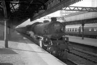 Built at Gorton Works in 1949, Thomson B1 4-6-0 no 61347 spent almost its whole life in Scotland. The locomotive is pictured here on a train at Glasgow's Buchanan Street station in the 1960s at which time home was at Thornton Junction. A part of what became Scotrail House can be seen under construction in the background. 61347 was withdrawn from 62A in April 1967 and cut up at McLellans at Langloan some 3 months later.<br><br>[Robin Barbour Collection (Courtesy Bruce McCartney)&nbsp;//]