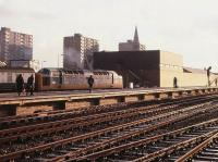 Deltic 55007 <I>Pinza</I> stands with a train at Doncaster station on 29 December 1979 lit by a low winter sun.<br><br>[Peter Todd&nbsp;29/12/1979]