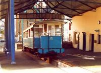 Great Orme Tramway car no 5 at Llandudno Lower Station in February 1982. <br><br>[David Pesterfield&nbsp;/02/1982]