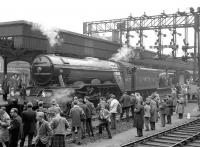 The Queen's College RTS <I>Flying Scotsman</I> railtour of 16 May 1964 ex-Edinburgh Waverley pictured following its arrival in Aberdeen. <br> <br><br>[Robin Barbour Collection (Courtesy Bruce McCartney)&nbsp;16/05/1964]