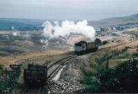 The Blaenavon Express: the P&B used to have only one operating steam engine, with BROOKFIELD emblazoned on its tanks IIRC. It is pushing its single coach up to the later location of Whistle Inn halt in September 1991. The 'landscaped' background looks distinctly bleak; as viewers of the TV programme 'Time Team' will know, it contains a buried viaduct.<br><br>[Ken Strachan&nbsp;/09/1991]