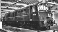 E5006 at Doncaster Works, thought to have been photographed during a visit on 24 May 1959. These DC electric locomotives, which eventually become class 71, were built for the SR Kent Coast electrification between 1958 and 1960. A total of 24 such examples emerged from Doncaster Works during that period, with 10 of the class being subsequently converted to electro-diesels (class 74) at Crewe during 1967-8.<br> <br><br>[K A Gray&nbsp;24/05/1959]