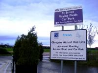 A Transport Scotland sign standing alongside the playing fields near Paisley St James in October 2009. This would have seen a new viaduct constructed as part of the now scrapped Glasgow Airport Rail Link project.<br><br>[Colin Harkins&nbsp;06/10/2009]