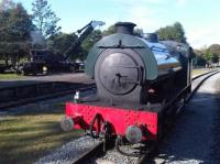 Ex MOD 0-6-0 Saddle Tank WD 150 sits between turns at Rowsley Station, with steam crane to left giving re-railing demonstrations. <br><br>[David Pesterfield&nbsp;11/10/2009]