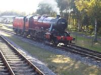 Newly restored Ashford Works built LMS 8F 48624 stands opposite Rowsley Station during mixed traffic day. <br><br>[David Pesterfield&nbsp;11/10/2009]