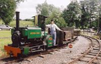 Peter Pan at the Kerr Stuart Gala at the Amerton Farm Railway.<br> An amiable outfit comprising a wobbly loop of rails laid in a field.<br><br>[Ken Strachan 18/06/2005]