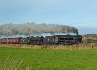 LMS Class 5MT 4-6-0 no 45407 and LNER K1 Class 2-6-0 no 62005 on the return journey from Fort William to Carnforth. Together they hauled <i>The West Highland Statesman</i> on the previous Saturday.<br><br>[I Robin&nbsp;12/10/2009]