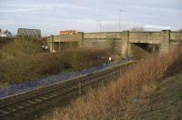 Looking west to the Western Road bridges; Dalry line Bridge 102 on the left, behind the bank, Barrhead line Bridge 108 to the right. Both bridges date from the 1930s, when the Western Road was widened with the intention of forming an early bypass; a scheme that failed miserably.<br><br>[Robert Blane&nbsp;06/03/2009]