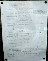 Combe Halt is fortunate indeed to have local support. Someone has gone to some bother to produce this handwritten timetable which was by the entry to the single platform station. The station's status as a sometime request halt is interesting.<br><br>[Ewan Crawford&nbsp;06/09/2009]