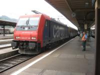 The driver looks bemused at the sight of a supposedly freight only loco being allocated to work this Milan bound express at Chiasso in southern Switzerland.<br><br>[Michael Gibb 11/10/2009]
