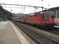 Not one but two electric locos for the 16.00 Sundays only Chiasso - Zurich express, seen here entering Bellinzona.<br><br>[Michael Gibb&nbsp;11/10/2009]