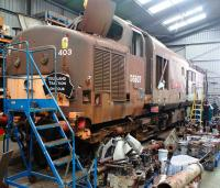 Ex-EWS 37403 (former D6607) photographed on 10 October 2009 in the workshops at Bo'ness, stripped and ready for a rebuild.<br> <br><br>[David Forbes&nbsp;10/10/2009]