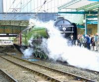A1 Pacific no 60163 <I>Tornado</I> at Carlisle on 10 October, welcomed by hundreds of well-wishers. It just rolled into the station like poetry in motion... a real work of art.<br><br>[Brian Smith&nbsp;10/10/2009]