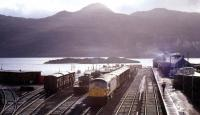 View over the of south side of Kyle of Lochalsh station in August 1972 with a type 2 diesel locomotive marshalling a freight.<br><br>[Colin Miller&nbsp;/08/1972]