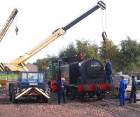 Ex-Caledonian tank 55189 undergoing major surgery at Bo'ness on 10 October 2009.<br><br>[David Forbes&nbsp;10/10/2009]