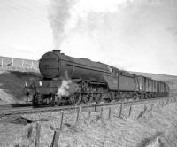 St Margarets V2 2-6-2 no 60825 takes a freight south over Whitrope summit in 1963.<br><br>[Robin Barbour Collection (Courtesy Bruce McCartney)&nbsp;//1963]