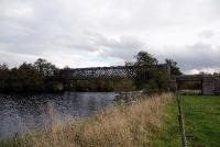 The 198ft long lattice girder bridge that once carried the railway across the River Spey at Ballindalloch. Built by G.Macfarlane of Dundee in 1863 it is now used by walkers and cyclists as part of the Speyside Way.<br><br>[John Gray&nbsp;20/10/2009]