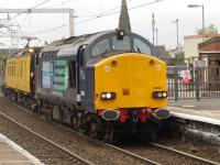 37608 with the overhead line test train <I>Mentor</I> eastbound off the Gourock line at Paisley Gilmour Street on 14th October 2009.<br><br>[Graham Morgan&nbsp;14/10/2009]