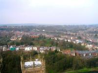 View south west from Durham Cathedral over part of the city on 22 April 2006. In the distance a Voyager can be seen passing over Durham viaduct. <br><br>[Bruce McCartney&nbsp;22/04/2006]